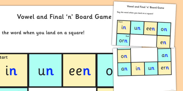 Vowel and Final 'N' Board Game - final n, sound, board game, game
