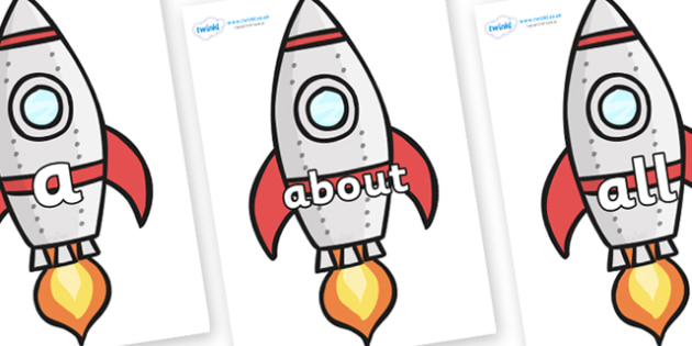 100 High Frequency Words on Rockets (Plain) - High frequency words, hfw, DfES Letters and Sounds, Letters and Sounds, display words