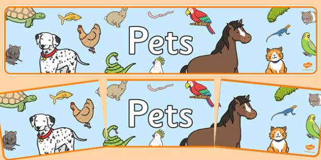 Editable Pets Banner - pets, animals, banner, display