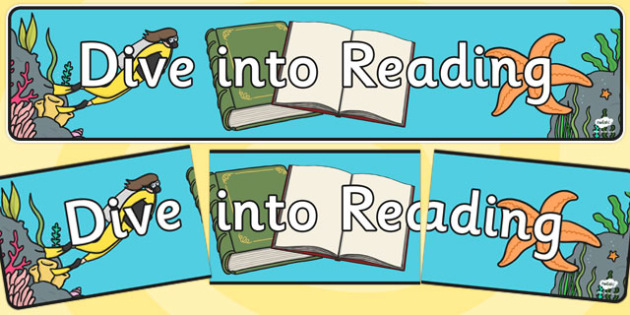 Dive into Reading Display Banner - dive, reading, display banner, read