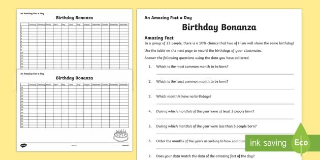 Birthday Bonanza Activity Sheet