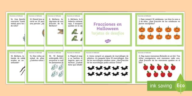 Fracciones en Halloween Tarjetas de desafío de matemáticas de atención a la diversidad