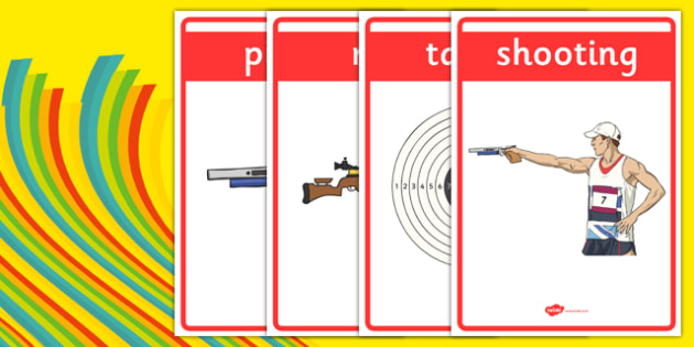 The Olympics Shooting Display Posters - Shooting, Olympics, Olympic Games, sports, Olympic, London, 2012, display, banner, poster, sign, activity, Olympic torch, events, flag, countries, medal, Olympic Rings, mascots, flame, compete