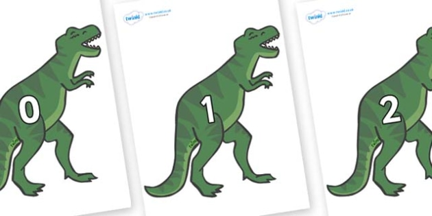 Numbers 0-31 on T-Rex - 0-31, foundation stage numeracy, Number recognition, Number flashcards, counting, number frieze, Display numbers, number posters