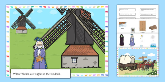 Silly W Sentences Cut and Stick Pictures - silly w, sentence, cut and stick, pictures
