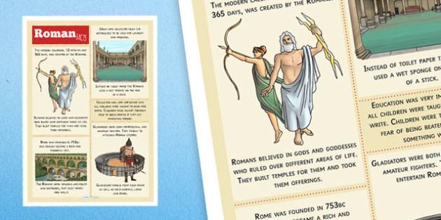 Roman Facts Poster - romans, facts about romans, roman facts, ancient rome, romans poster, ancient rome poster, history poster, history display, ks2
