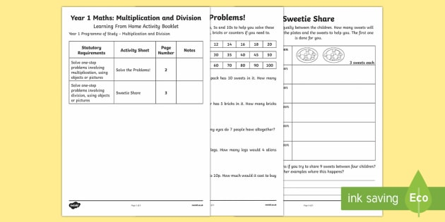 Year 1 Maths Multiplication and Division Learning From Home Activity Booklets Activity Booklet