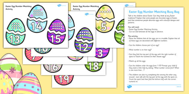 Easter Egg Number Matching Busy Bag Resource Pack for Parents - Easter Number
