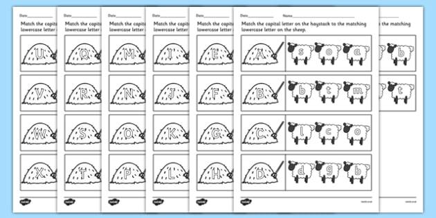 Farm Capital Letters Matching Worksheet - farm animals, uppercase