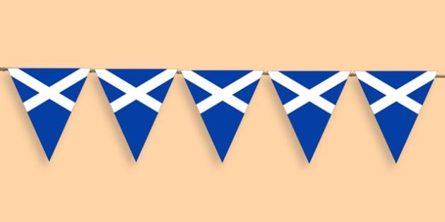 Scottish Flag Bunting - scottish flag, flag bunting, scotland, scotish bunting, classroom bunting, classrom decoration, scotish themed bunting