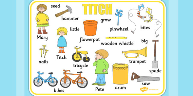 Word Mat to Support Teaching on Titch - stories, story books, key words, visual aid
