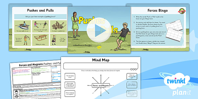 PlanIt - Science Year 3 - Forces and Magnets Lesson 1: Pushes and Pulls Lesson Pack