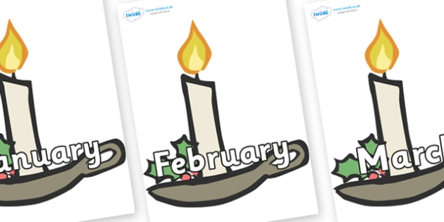 Months of the Year on Christmas Candles - Months of the Year, Months poster, Months display, display, poster, frieze, Months, month, January, February, March, April, May, June, July, August, September
