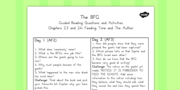 Guided Reading Questions Chapter 23 and 24 to Support Teaching on The BFG - australia, bfg, guided reading
