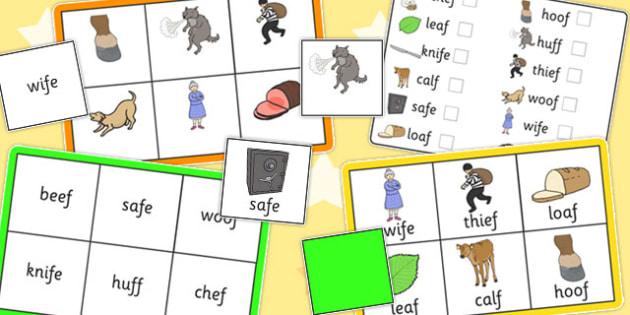 Final 'F' Sound Bingo - final f, sound, bingo, game, activity