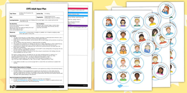 I'm Feeling EYFS Adult Input Plan and Resource Pack - adult led, activity