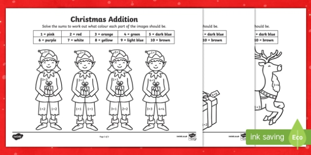 Christmas Addition to 10 Colour by Number