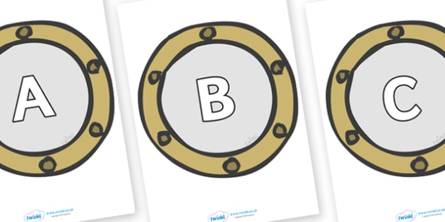 A-Z Alphabet on Portholes - A-Z, A4, display, Alphabet frieze, Display letters, Letter posters, A-Z letters, Alphabet flashcards