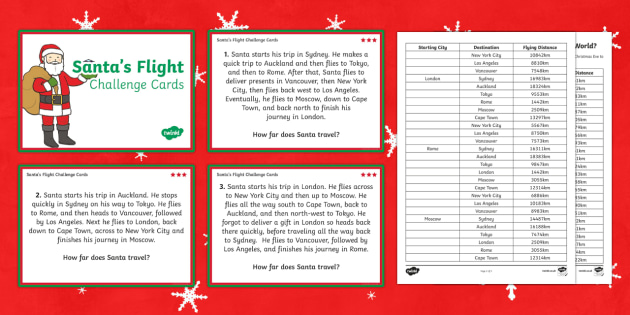 Santa's journey around the World Differentiated Maths Challenge Cards-Australia
