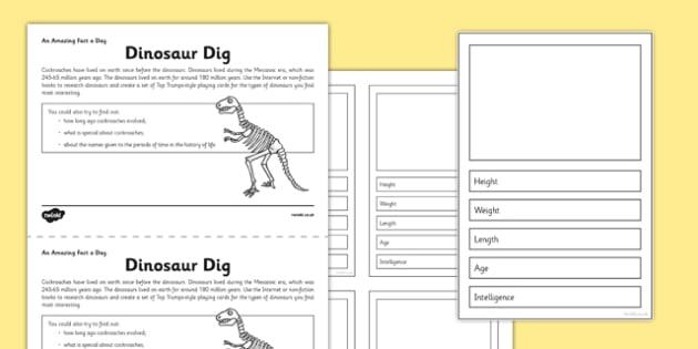 Dinosaur Dig Activity Sheet - dinosaur, top trumps, activity, dig, worksheet