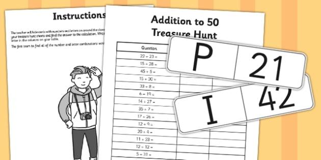 Addition to 50 Treasure Hunt Activity - addition, treasure, hunt