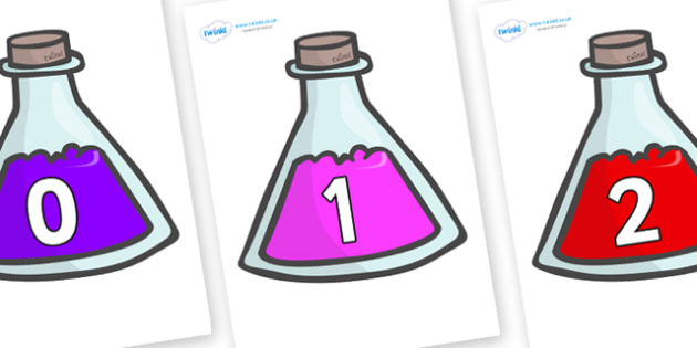 Numbers 0-31 on Potions - 0-31, foundation stage numeracy, Number recognition, Number flashcards, counting, number frieze, Display numbers, number posters