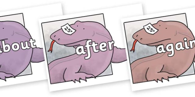 KS1 Keywords on Komodo Dragon to Support Teaching on The Great Pet Sale - KS1, CLL, Communication language and literacy, Display, Key words, high frequency words, foundation stage literacy, DfES Letters and Sounds, Letters and Sounds, spelling