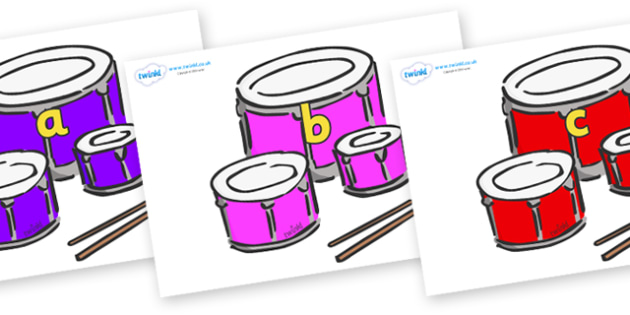 Phase 2 Phonemes on Drums - Phonemes, phoneme, Phase 2, Phase two, Foundation, Literacy, Letters and Sounds, DfES, display