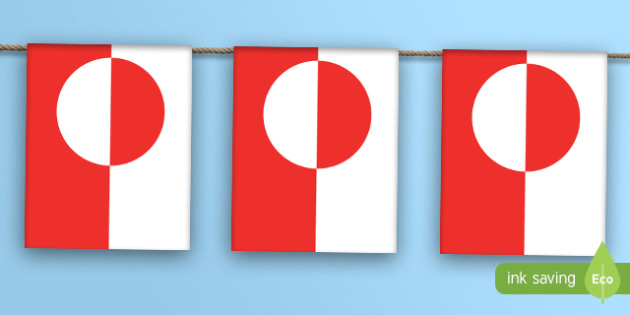 Greenland Flag Bunting - greenland, flag, bunting, display bunting, country
