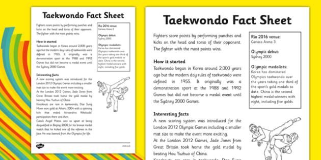 The Olympics Taekwondo Fact Sheet - the olympics, rio olympics, rio 2016, 2016 olympics,