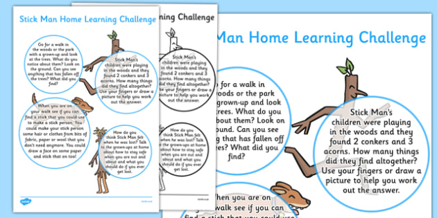 Home Learning Challenge Sheet Nursery FS1 to Support Teaching on Stick Man - stick man
