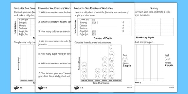 Favourite Sea Creature Tally Chart and Pictogram Worksheets