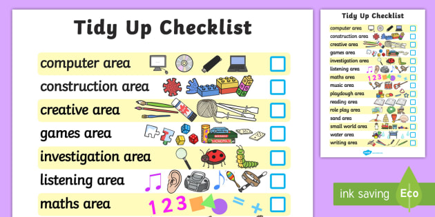Class Tidy Up Checklist - class management, tidying, behaviour