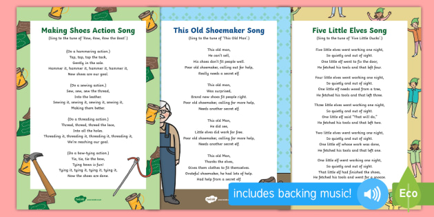 EYFS The Elves and the Shoemaker Songs and Rhymes Resource Pack - The Elves and the Shoemaker, traditional tales, Christmas, singing, song time, elf