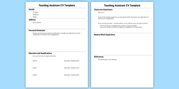 Teaching Assistant CV Template - teaching, assistant, cv template