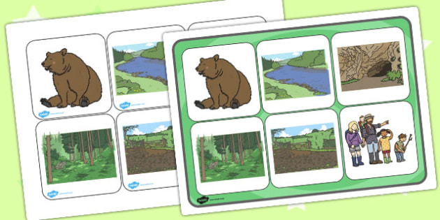 Bear Hunt Matching Cards and Board - bear hunt, matching cards