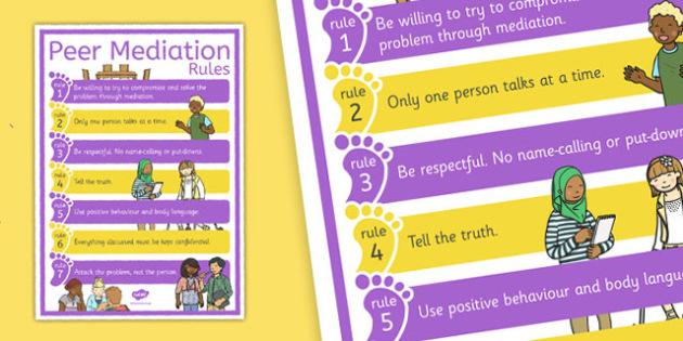Peer Mediation Rules Poster - peer mediation, rules poster, rules, poster, display