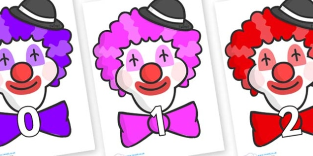 Numbers 0-50 on Clown Faces - 0-50, foundation stage numeracy, Number recognition, Number flashcards, counting, number frieze, Display numbers, number posters