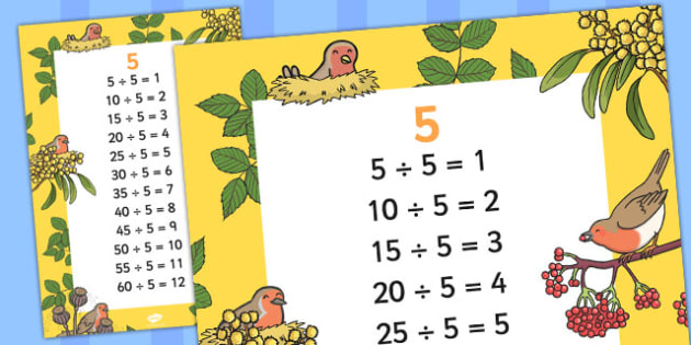 5 Times Table Division Facts Display poster - posters, displays