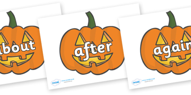 KS1 Keywords on Jack O'lanterns - KS1, CLL, Communication language and literacy, Display, Key words, high frequency words, foundation stage literacy, DfES Letters and Sounds, Letters and Sounds, spelling