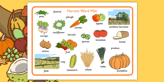 Harvest Word Mats - Word mat, Harvest, Autumn, seasons,  A4, display, harvest,  harvest festival, fruit, apple, pear, orange, wheat, bread, grain, leaves, conker