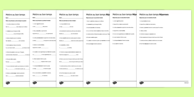 French Mettre au bon temps Worksheets - french, changing tense, changing, tense, worksheets