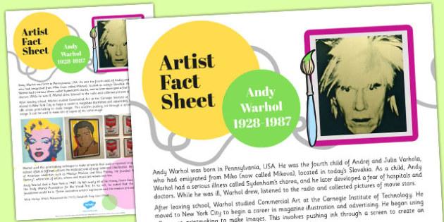 Artist Fact Sheet Andy Warhol - artist, fact, sheet, andy, warhol