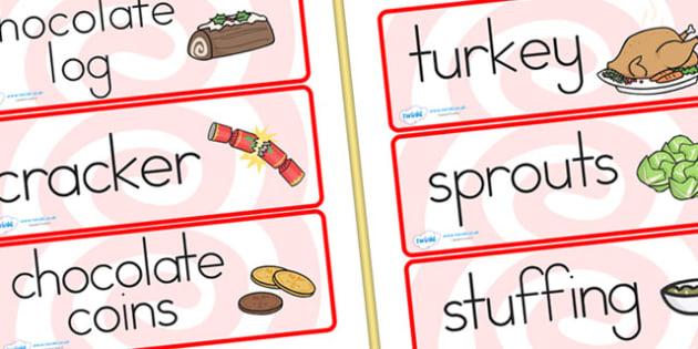 Australia Christmas Dinner Word Cards - christmas, word cards, keywords
