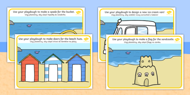 Seaside Playdough Mats Polish Translation - polish, Seaside, playdough, mat, holidays, water, tide, waves, sand, beach, sea, sun, holiday, coast