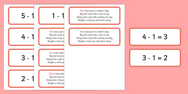 Five Mince Pies Nursery Rhyme Number Sentences and Verse Cards - five mince pies, nursery rhyme, rhyme, rhyming, christmas, food, santa, number sentences, number, sentence, verse cards, verses, cards