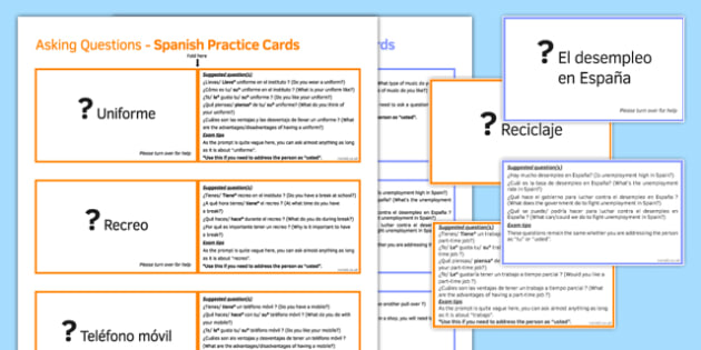 GCSE Spanish Asking Questions Practice Cards