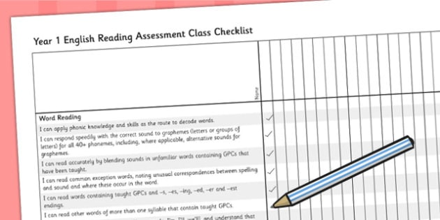 2014 Curriculum Year 1 English Reading Assessment Class Checklist