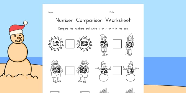 Christmas Number Comparison Worksheets - australia, christmas