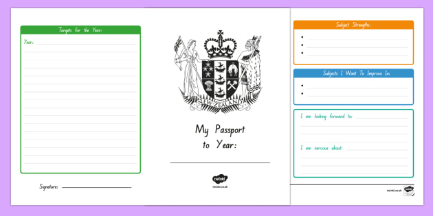 My New Zealand Passport to Next Year Writing Frames